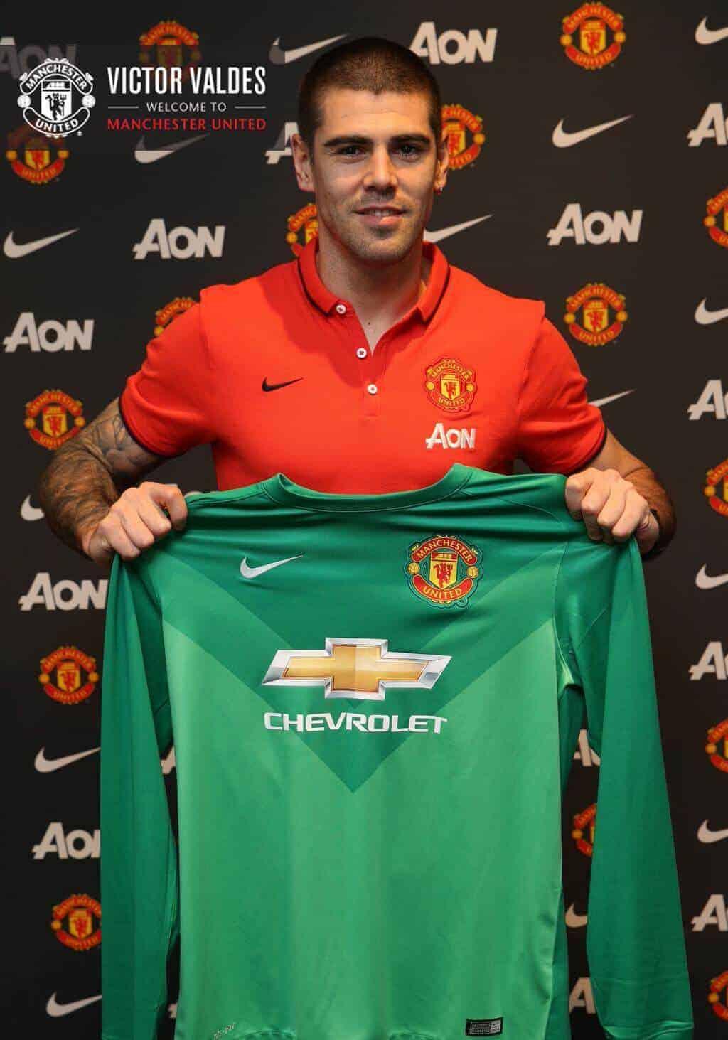 Manchester United unveil the signing of former Barcelona goalkeeper Victor Valdes